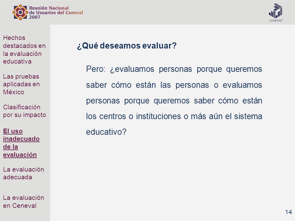 Hechos destacados en la evaluación educativa
