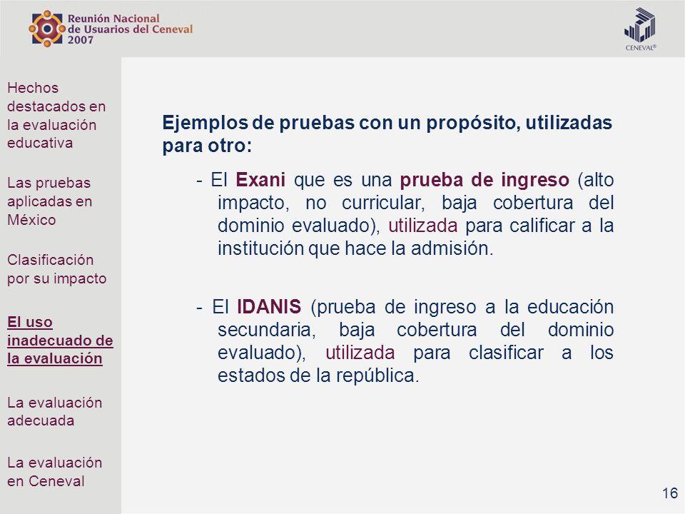 Ejemplos de pruebas con un propósito, utilizadas para otro: