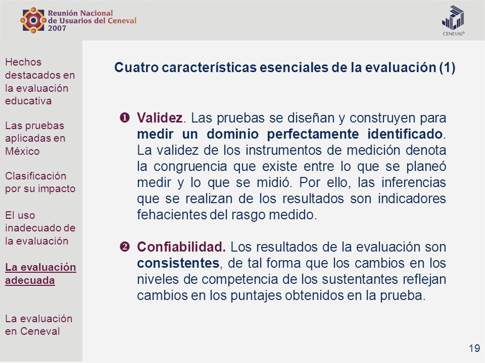 Cuatro características esenciales de la evaluación (1)