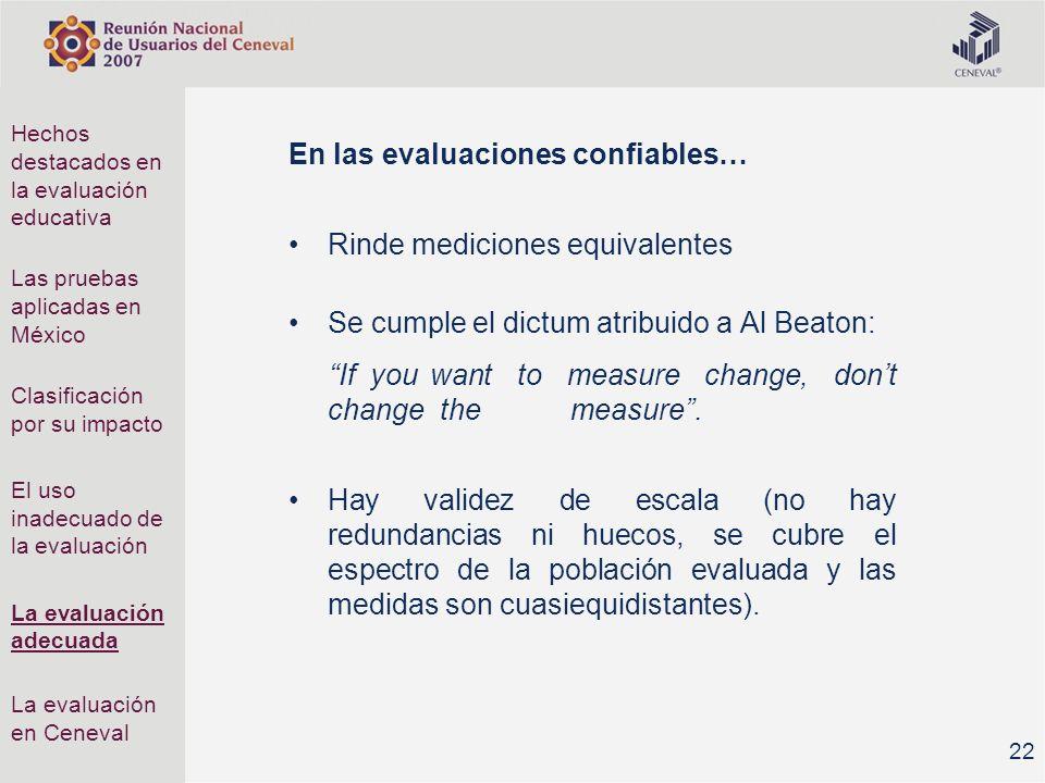 En las evaluaciones confiables… Rinde mediciones equivalentes