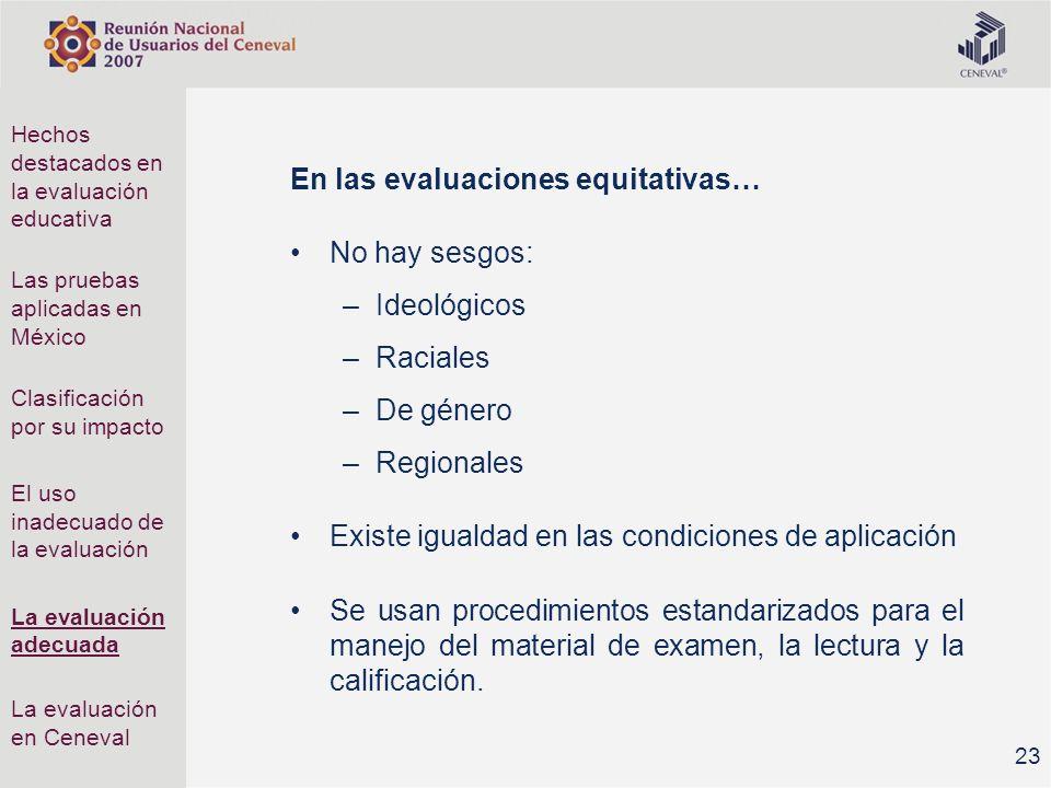 En las evaluaciones equitativas… No hay sesgos: Ideológicos Raciales