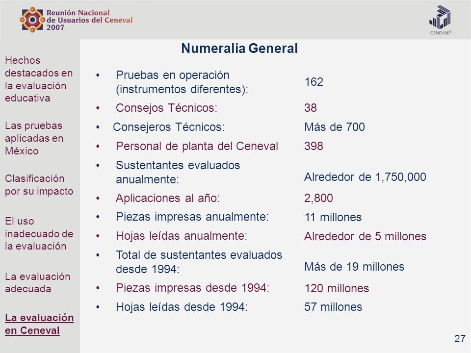 Numeralia General 162 Pruebas en operación (instrumentos diferentes):