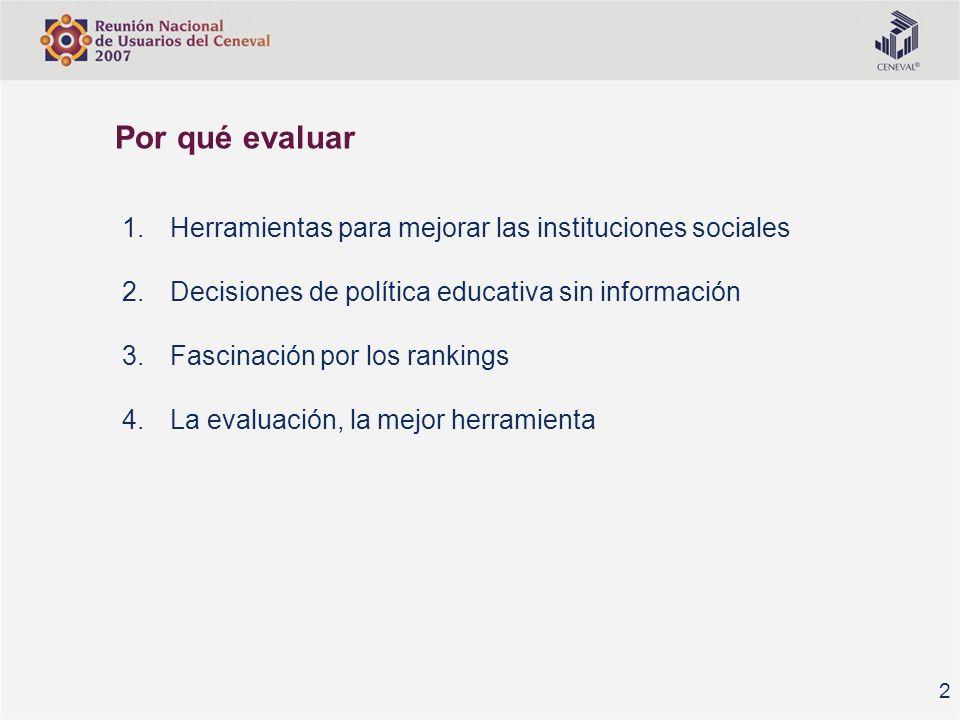 Por qué evaluar Herramientas para mejorar las instituciones sociales