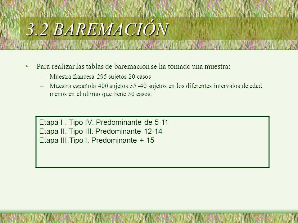 3.2 BAREMACIÓN Etapa I . Tipo IV: Predominante de 5-11