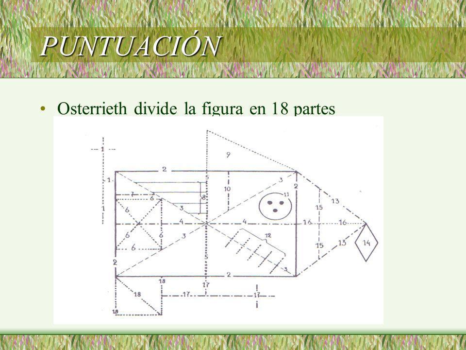 PUNTUACIÓN Osterrieth divide la figura en 18 partes