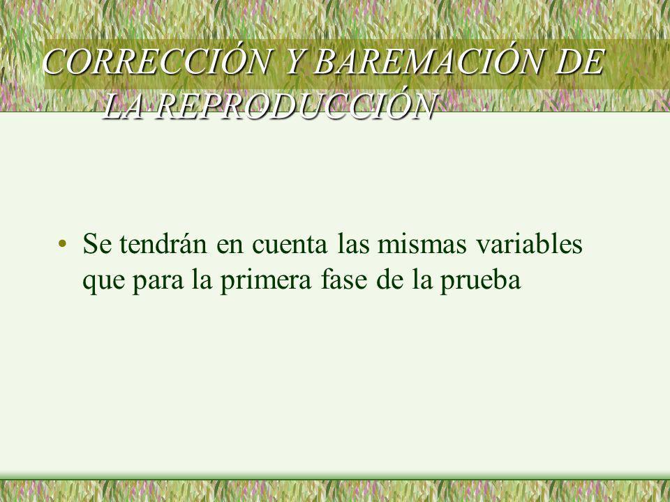 CORRECCIÓN Y BAREMACIÓN DE LA REPRODUCCIÓN
