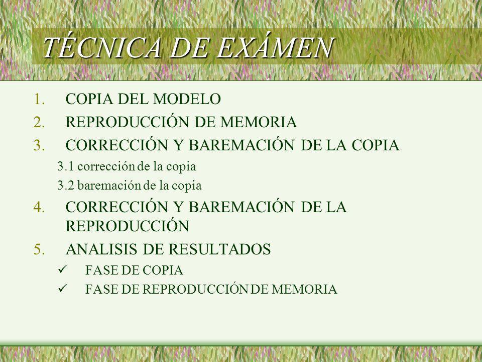 TÉCNICA DE EXÁMEN COPIA DEL MODELO REPRODUCCIÓN DE MEMORIA