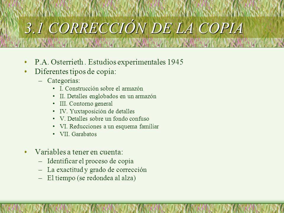 3.1 CORRECCIÓN DE LA COPIA P.A. Osterrieth . Estudios experimentales 1945. Diferentes tipos de copia: