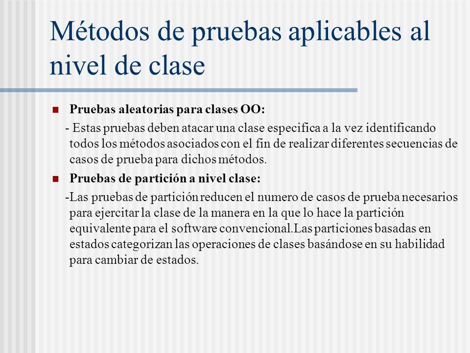 Métodos de pruebas aplicables al nivel de clase