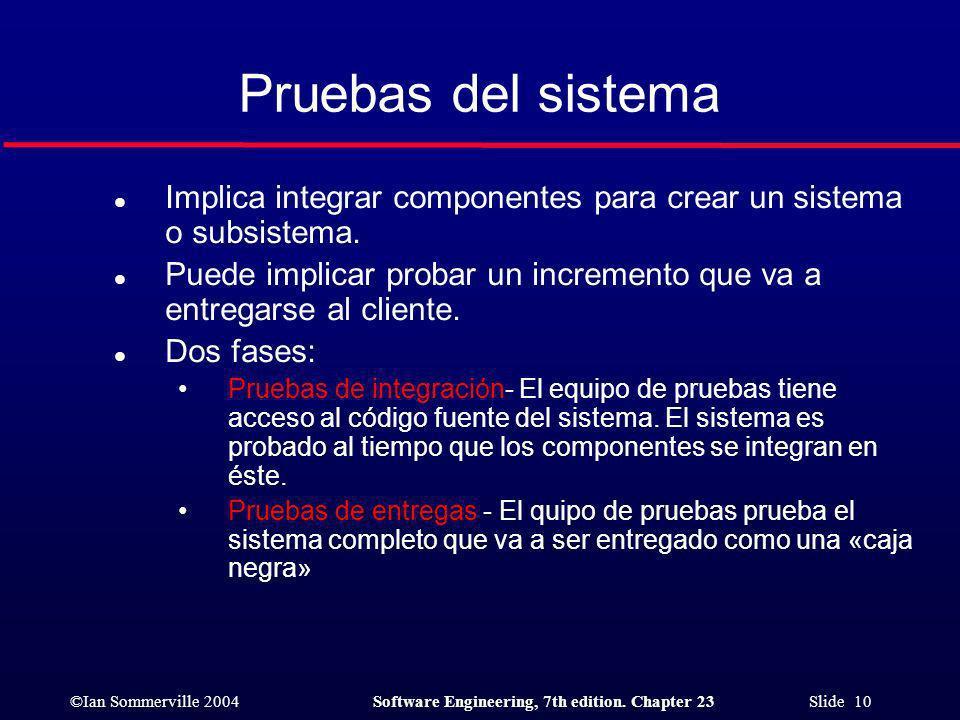 Pruebas del sistema Implica integrar componentes para crear un sistema o subsistema.