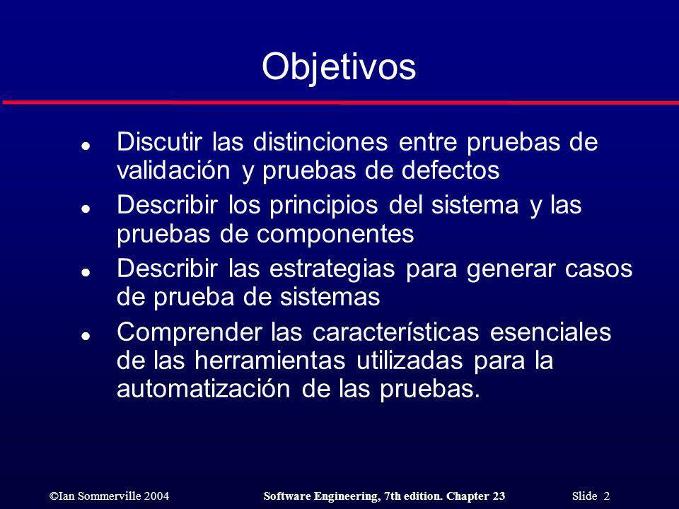 Objetivos Discutir las distinciones entre pruebas de validación y pruebas de defectos.