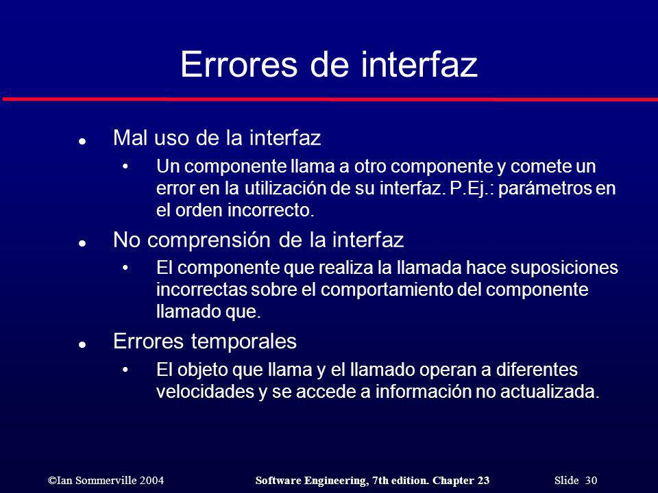 Errores de interfaz Mal uso de la interfaz