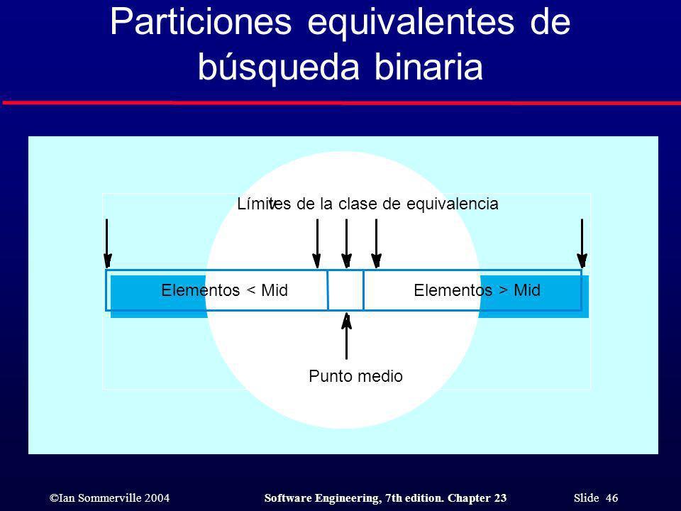 Particiones equivalentes de búsqueda binaria