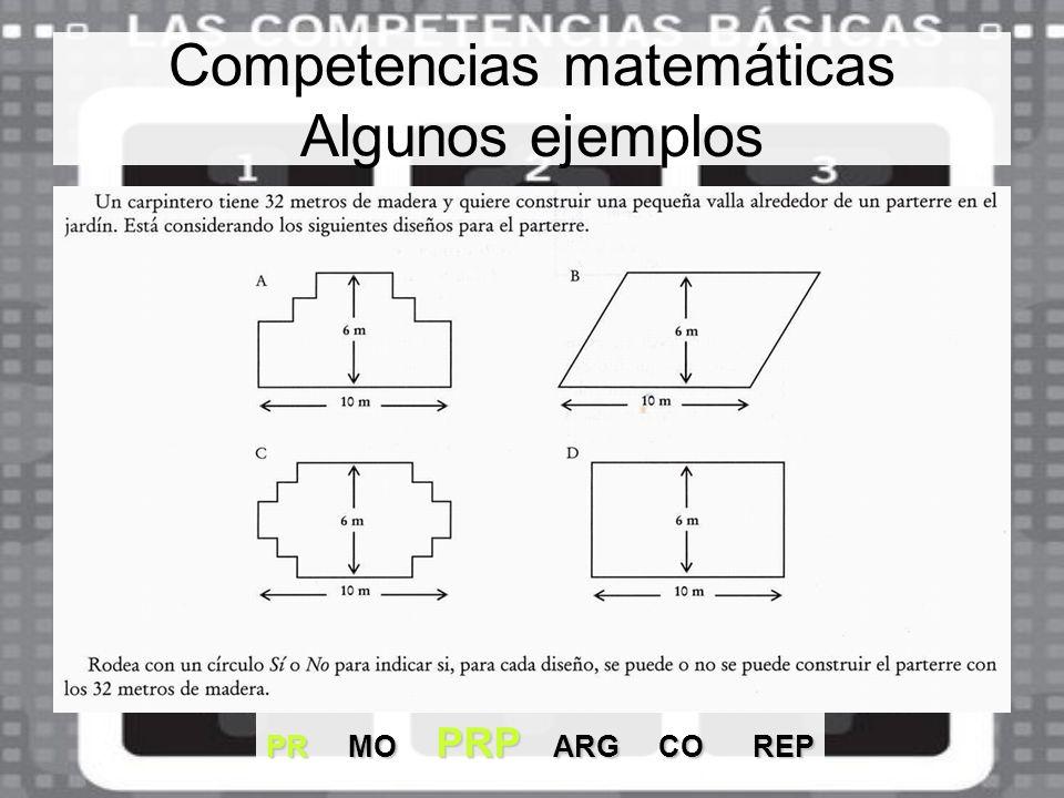 Competencias matemáticas Algunos ejemplos