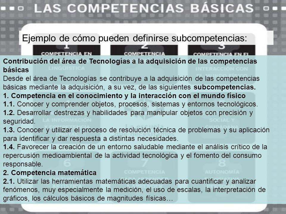 Ejemplo de cómo pueden definirse subcompetencias: