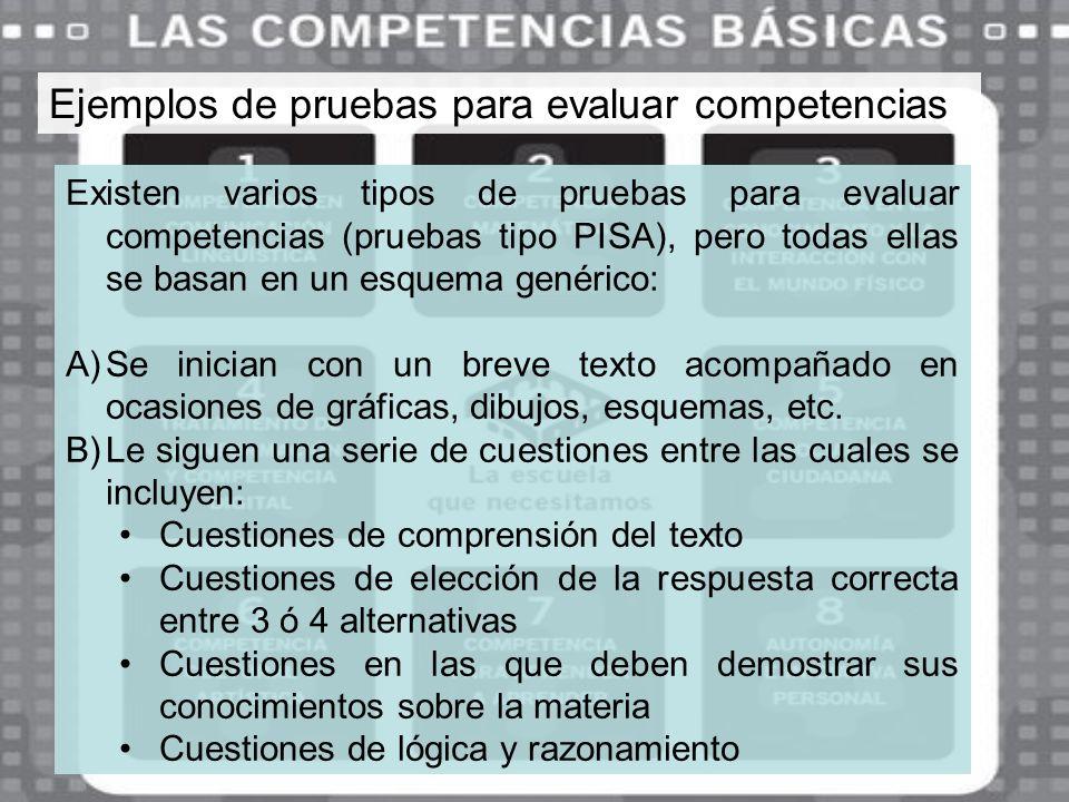 Ejemplos de pruebas para evaluar competencias