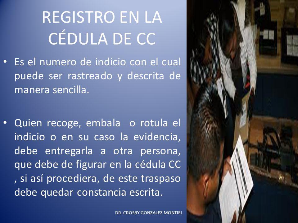REGISTRO EN LA CÉDULA DE CC