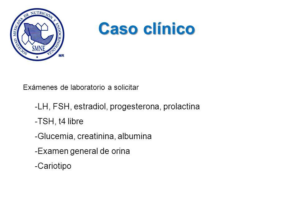 Caso clínico -LH, FSH, estradiol, progesterona, prolactina