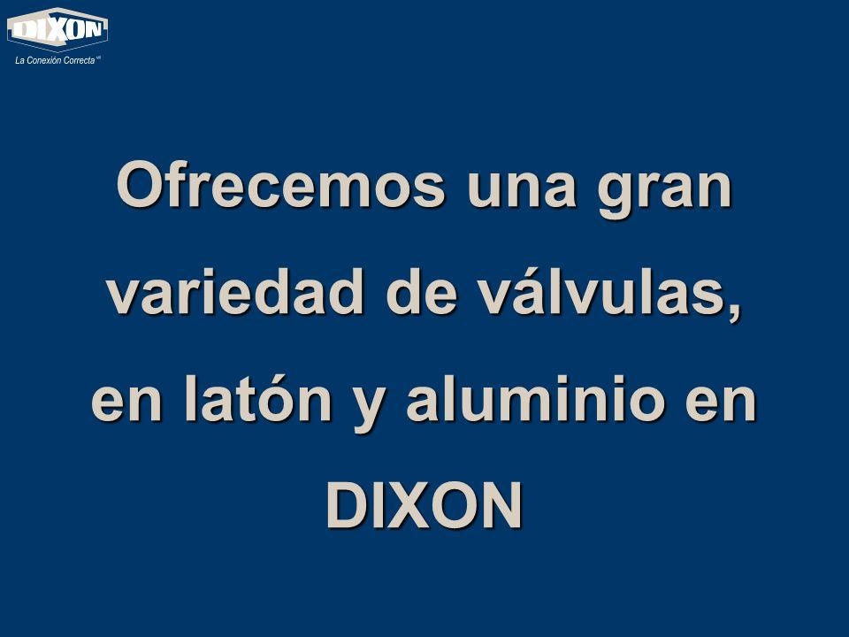 Ofrecemos una gran variedad de válvulas, en latón y aluminio en DIXON
