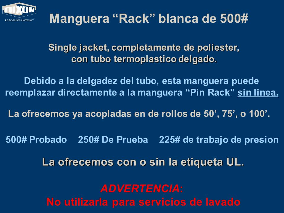Manguera Rack blanca de 500#