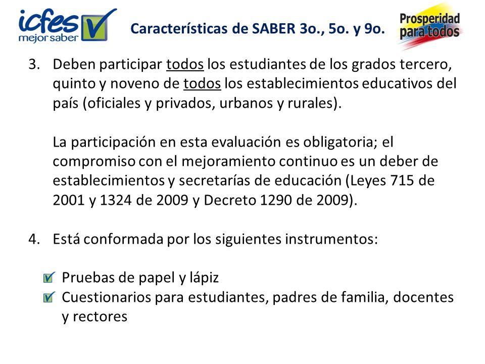 Características de SABER 3o., 5o. y 9o.