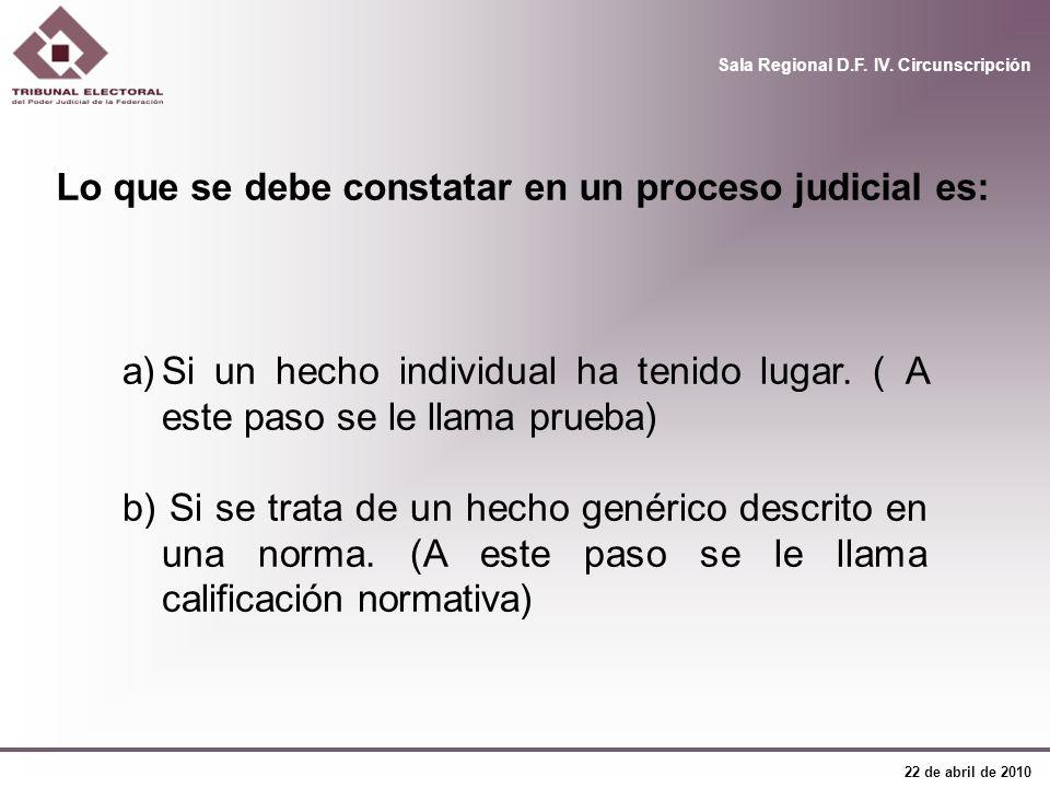 Lo que se debe constatar en un proceso judicial es: