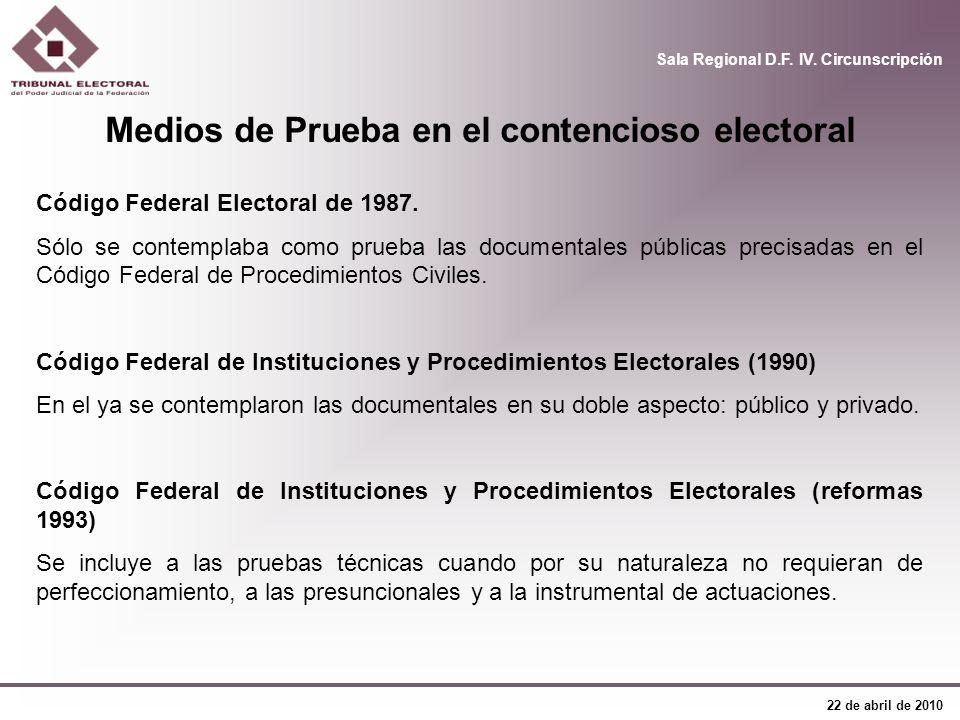Medios de Prueba en el contencioso electoral