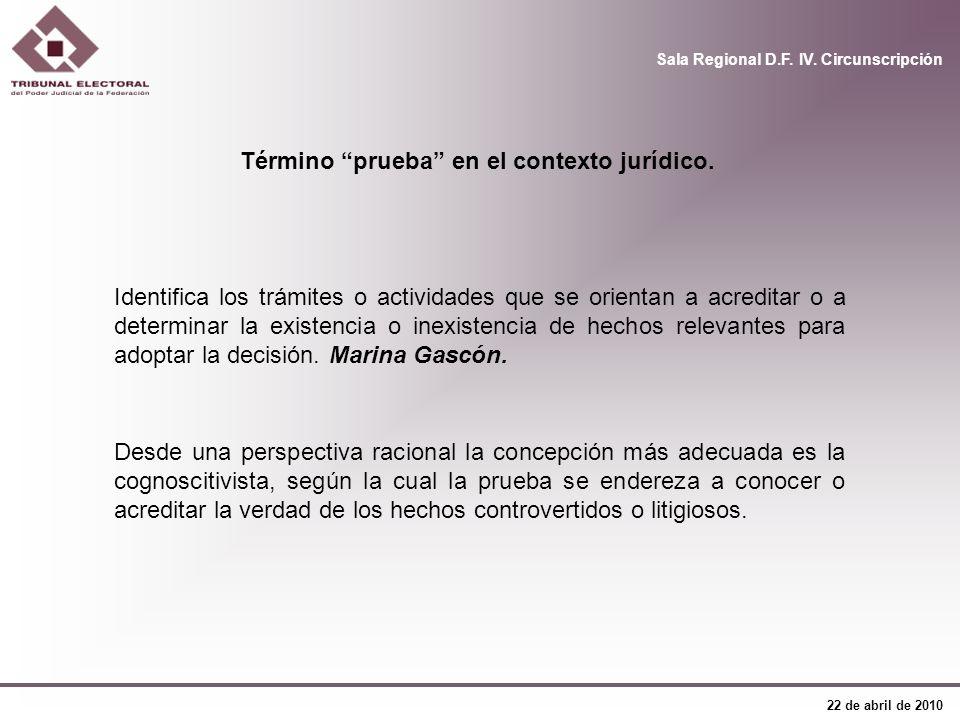 Término prueba en el contexto jurídico.