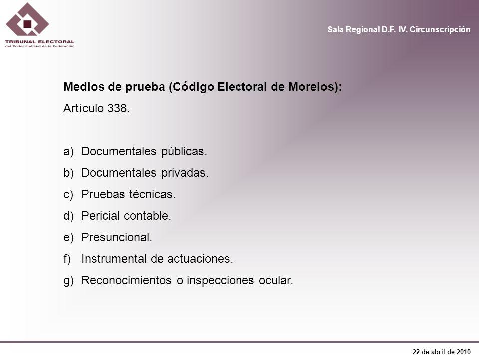 Medios de prueba (Código Electoral de Morelos):