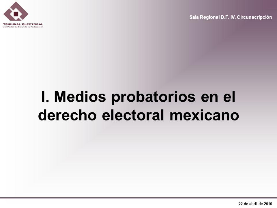 I. Medios probatorios en el derecho electoral mexicano
