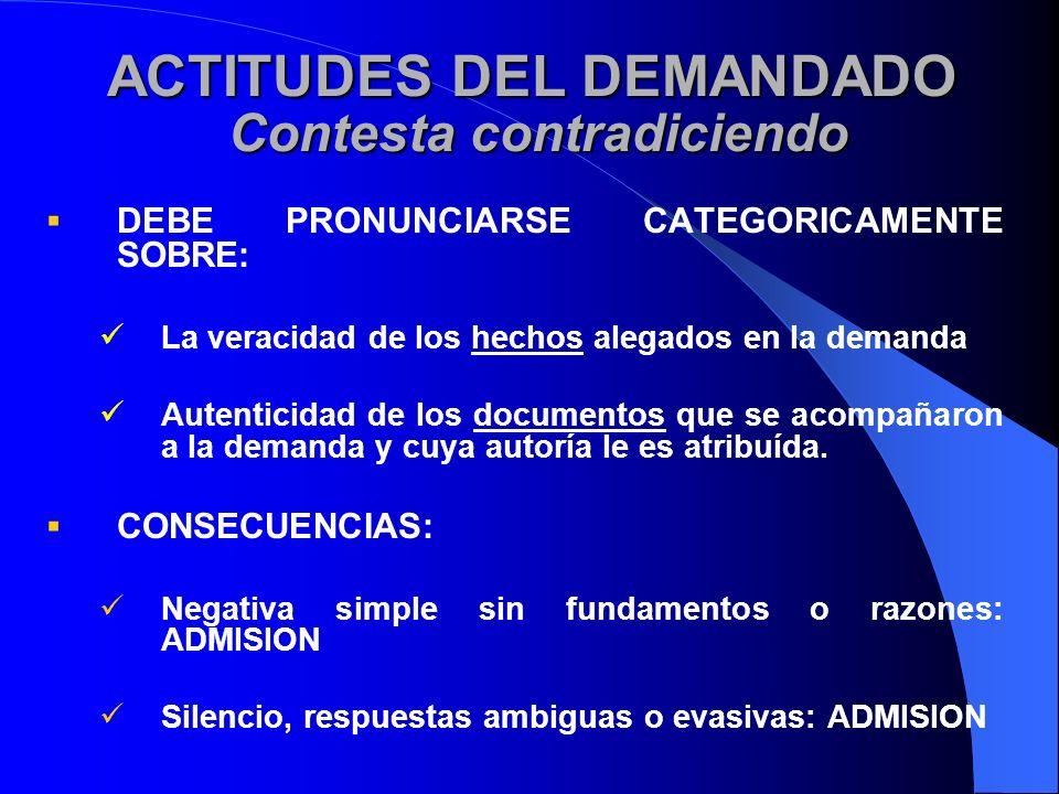 ACTITUDES DEL DEMANDADO Contesta contradiciendo