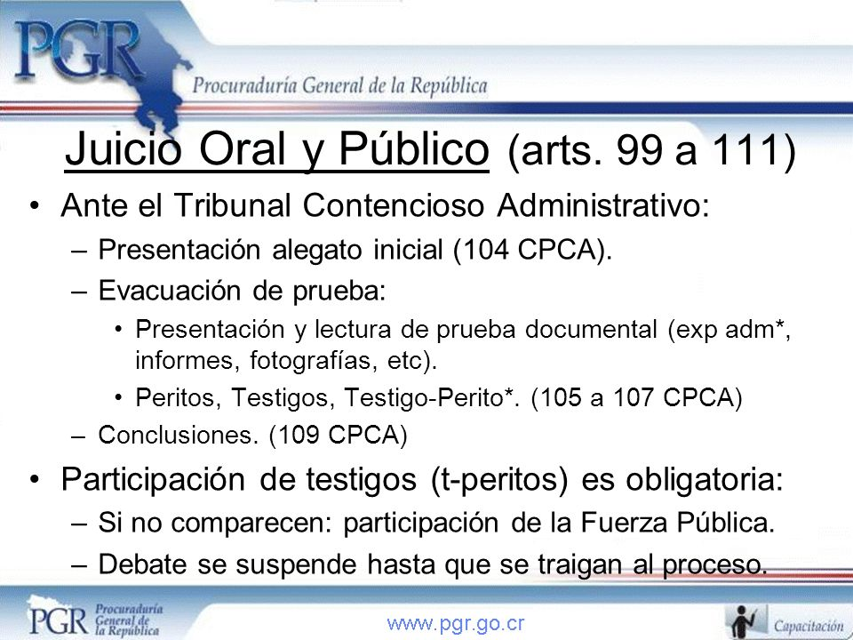 Juicio Oral y Público (arts. 99 a 111)