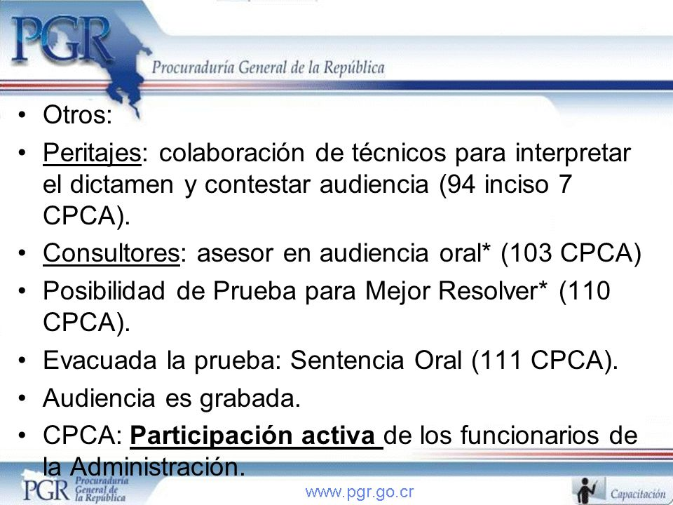 Consultores: asesor en audiencia oral* (103 CPCA)