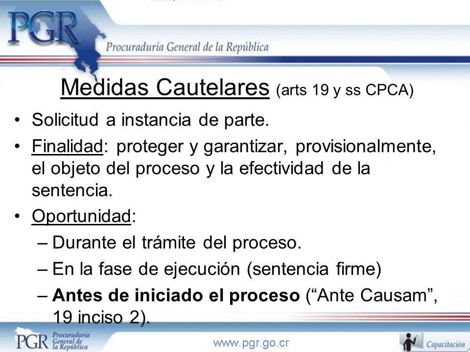 Medidas Cautelares (arts 19 y ss CPCA)