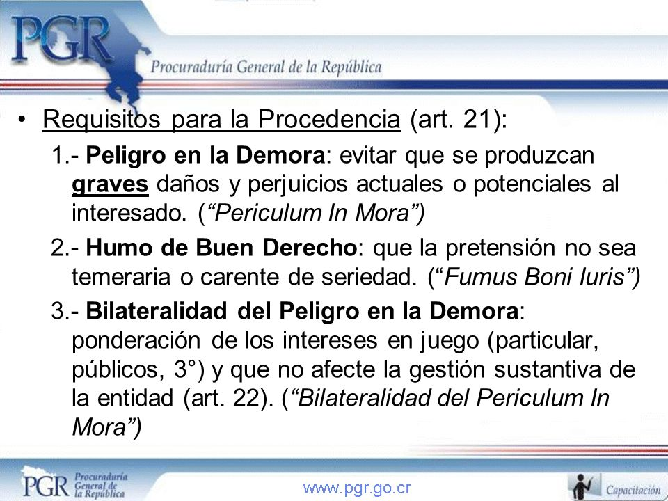 Requisitos para la Procedencia (art. 21):