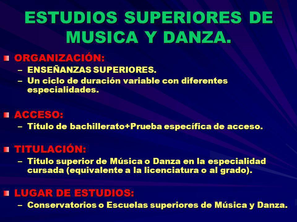 ESTUDIOS SUPERIORES DE MUSICA Y DANZA.