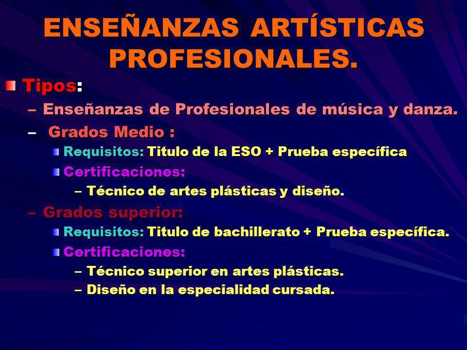 ENSEÑANZAS ARTÍSTICAS PROFESIONALES.