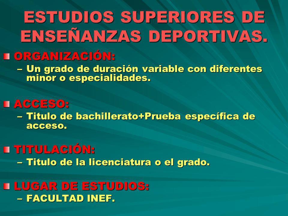 ESTUDIOS SUPERIORES DE ENSEÑANZAS DEPORTIVAS.