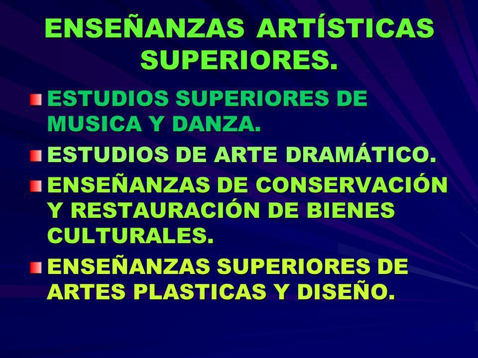 ENSEÑANZAS ARTÍSTICAS SUPERIORES.