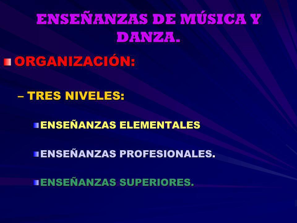 ENSEÑANZAS DE MÚSICA Y DANZA.