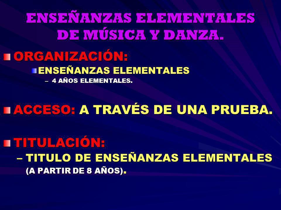 ENSEÑANZAS ELEMENTALES DE MÚSICA Y DANZA.
