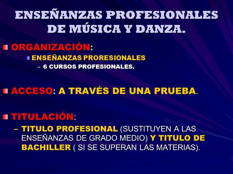 ENSEÑANZAS PROFESIONALES DE MÚSICA Y DANZA.