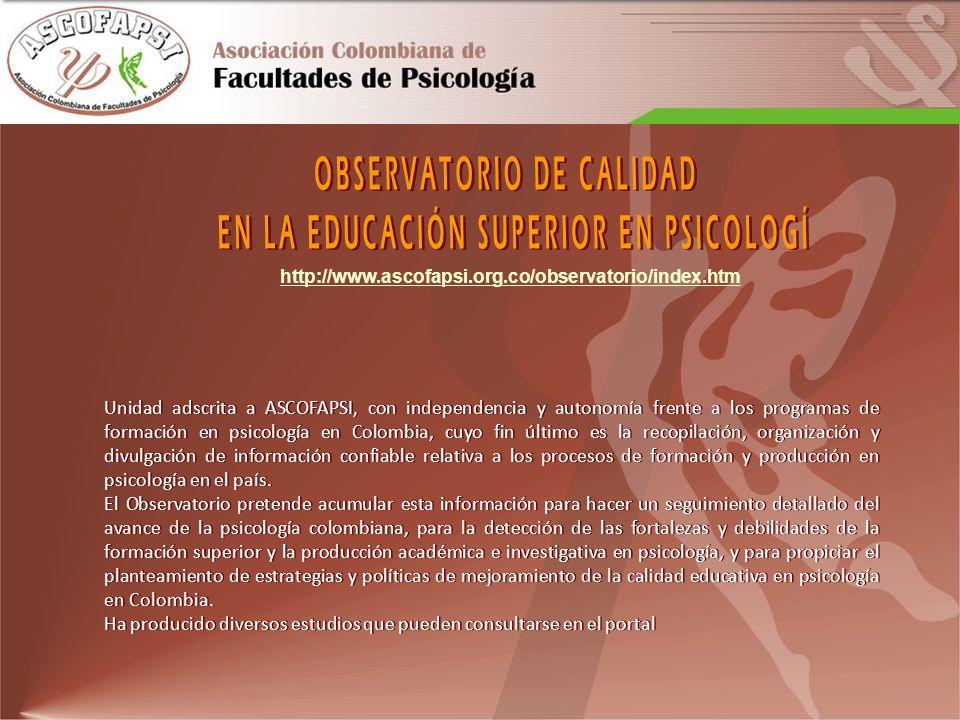 OBSERVATORIO DE CALIDAD EN LA EDUCACIÓN SUPERIOR EN PSICOLOGÍ