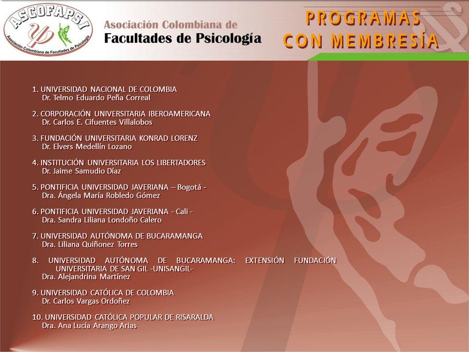PROGRAMAS CON MEMBRESÍA 1. UNIVERSIDAD NACIONAL DE COLOMBIA