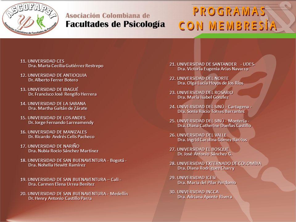 PROGRAMAS CON MEMBRESÍA 11. UNIVERSIDAD CES