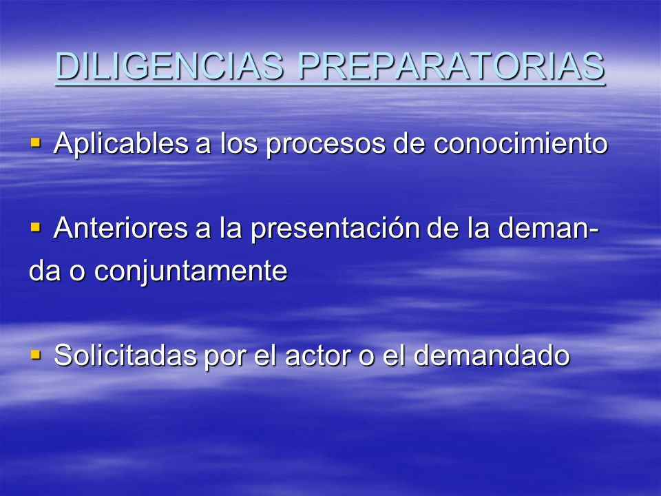 DILIGENCIAS PREPARATORIAS