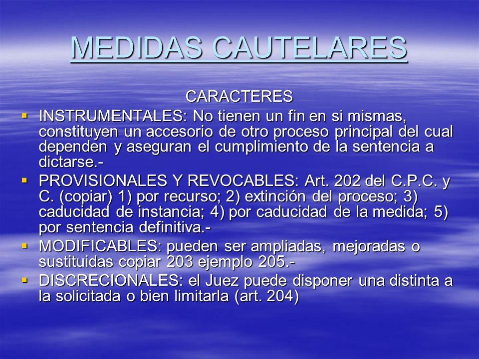 MEDIDAS CAUTELARES CARACTERES