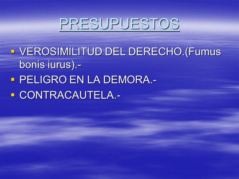 PRESUPUESTOS VEROSIMILITUD DEL DERECHO.(Fumus bonis iurus).-