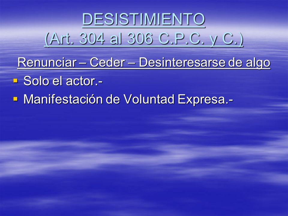 DESISTIMIENTO (Art. 304 al 306 C.P.C. y C.)