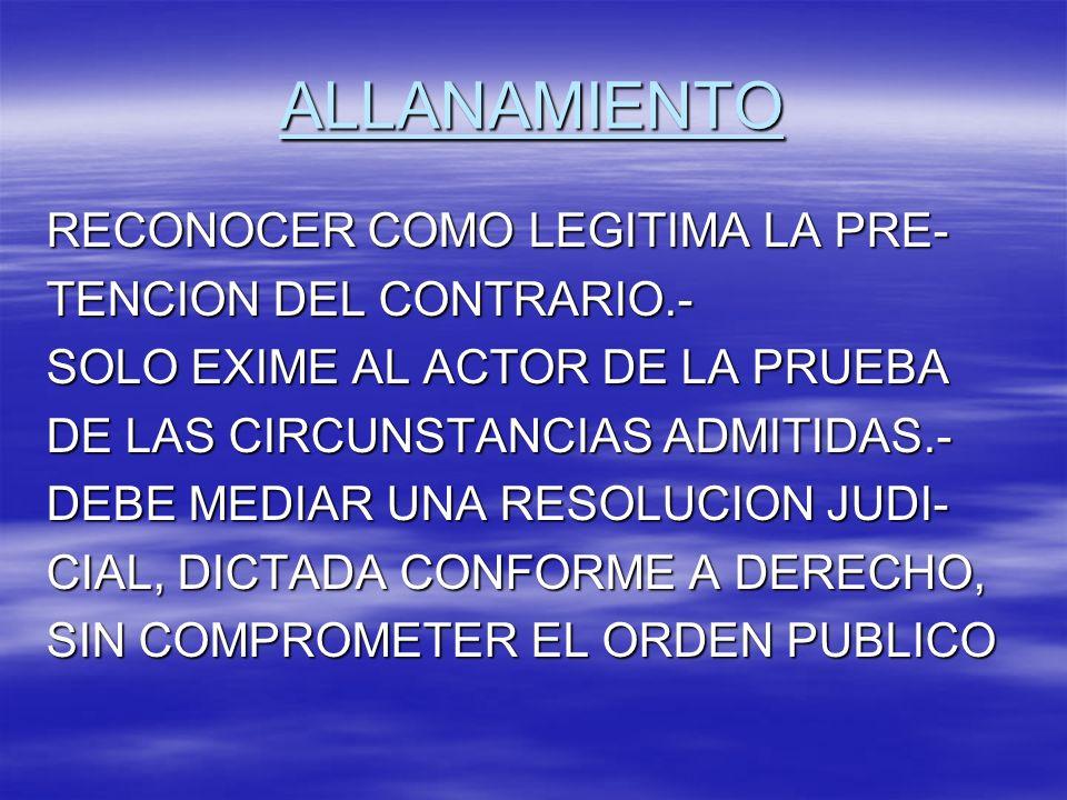 ALLANAMIENTO RECONOCER COMO LEGITIMA LA PRE- TENCION DEL CONTRARIO.-
